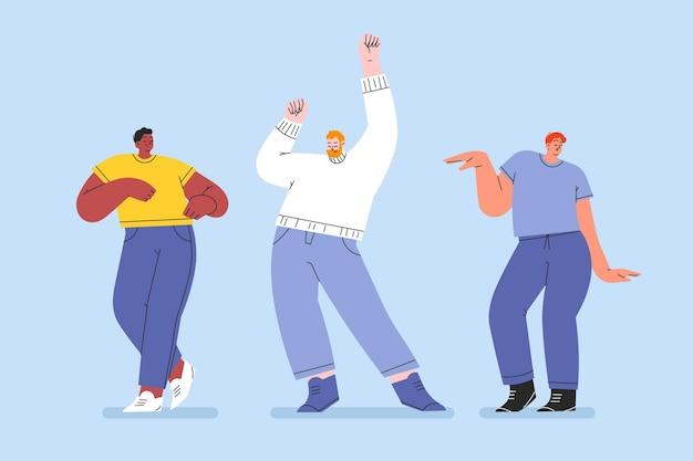 Hand getekende platte mensen dansen set