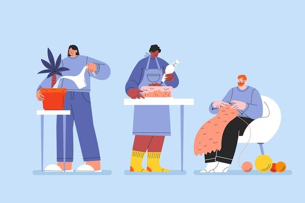 Hand getekende platte mensen hobby set
