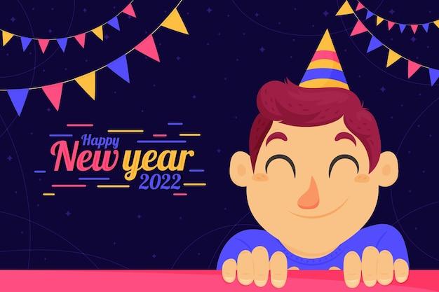 Hand getekende platte nieuwjaarsachtergrond met persoon die feestmuts draagt