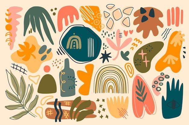 Hand getekende platte ontwerp abstracte vormen collectie