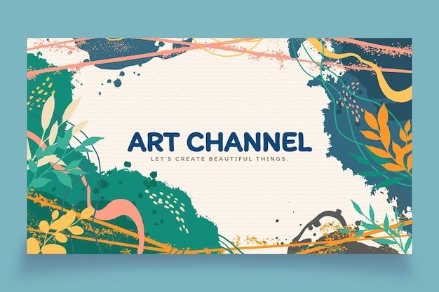 Hand getekende platte ontwerp abstracte vormen youtube channel art