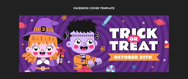 Hand getekende platte ontwerp halloween facebook cover