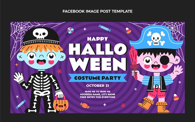Hand getekende platte ontwerp halloween facebook post