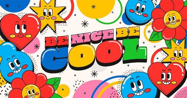 Hand getekende platte ontwerp trendy cartoon achtergrond