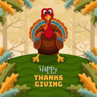 Hand getekende platte thanksgiving achtergrond met kalkoen