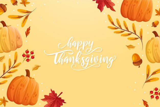 Hand getekende platte thanksgiving achtergrond
