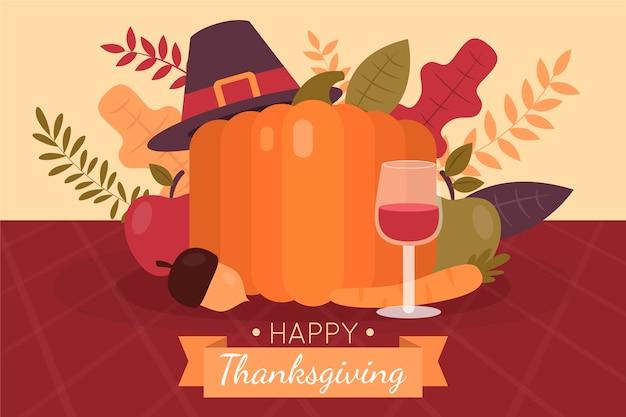 Hand getekende platte thanksgiving illustratie