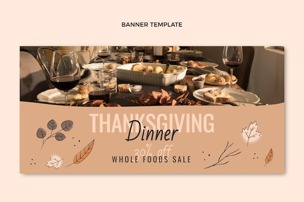Hand getekende platte thanksgiving verkoop horizontale banner sjabloon