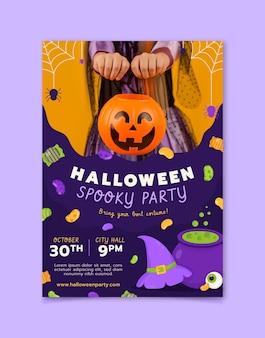 Hand getekende platte verticale halloween-feest folder sjabloon met foto