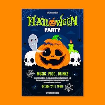 Hand getekende platte verticale halloween-feest folder sjabloon