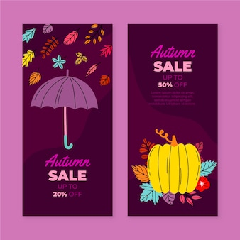 Hand getekende platte verticale herfst verkoop banners set