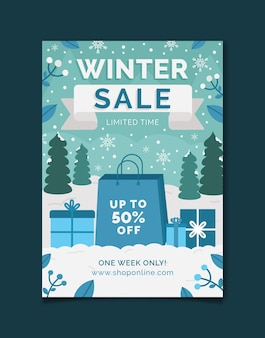 Hand getekende platte verticale winter verkoop poster sjabloon met boodschappentas