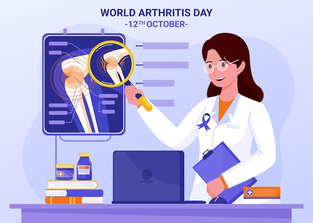 Hand getekende platte wereld artritis dag illustratie