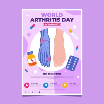 Hand getekende platte wereld artritis dag verticale flyer-sjabloon