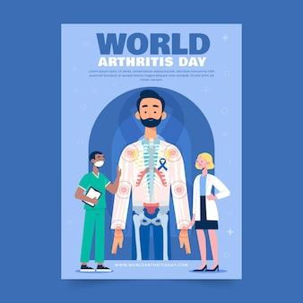 Hand getekende platte wereld artritis dag verticale poster sjabloon