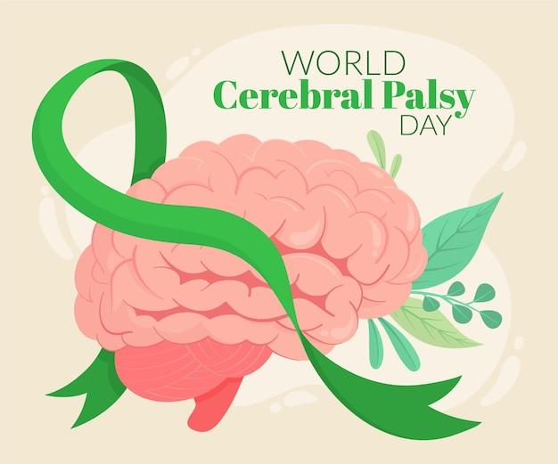 Hand getekende platte wereld cerebrale parese dag illustratie