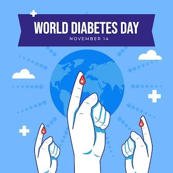 Hand getekende platte wereld diabetes dag illustratie