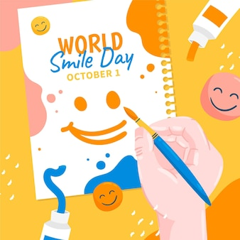 Hand getekende platte wereld glimlach dag illustratie