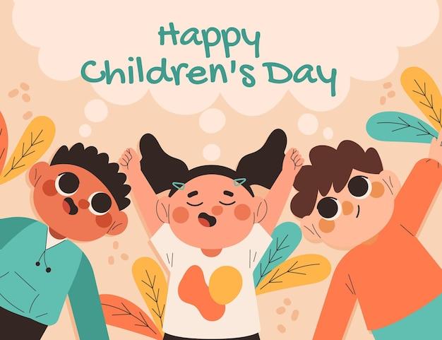 Hand getekende platte wereld kinderdag achtergrond