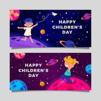 Hand getekende platte wereld kinderdag horizontale banners set