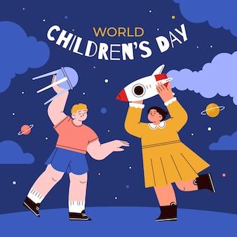 Hand getekende platte wereld kinderdag illustratie