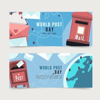 Hand getekende platte wereld post dag horizontale banners set
