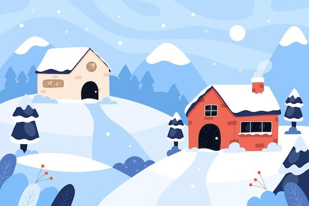 Hand getekende platte winter dorp illustratie
