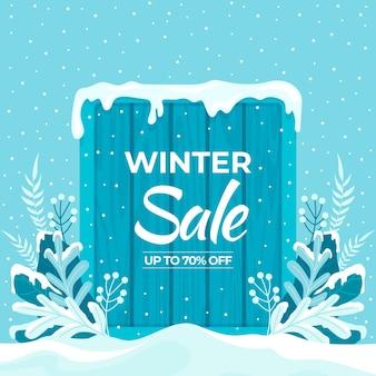 Hand getekende platte winter verkoop illustratie en vierkante banner
