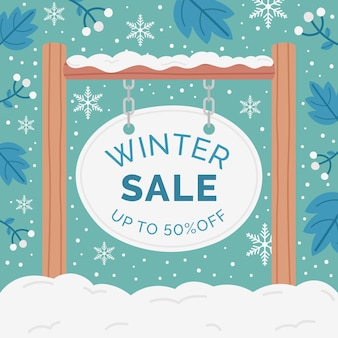 Hand getekende platte winter verkoop illustratie met houten bord