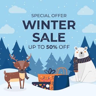 Hand getekende platte winter verkoop illustratie met ijsbeer en rendieren