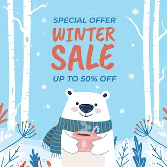 Hand getekende platte winter verkoop illustratie met ijsbeer met warme drank