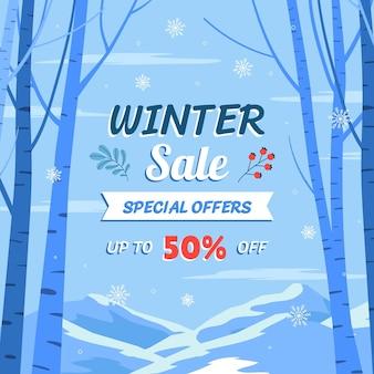 Hand getekende platte winter verkoop illustratie