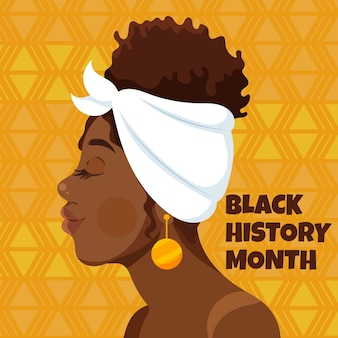 Hand getekende platte zwarte geschiedenis maand illustratie met zijaanzicht van woman