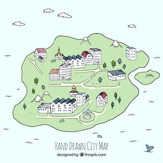 Hand getekende plattegrond van de stad