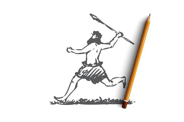 Hand getekende primitieve man loopt met speer concept schets