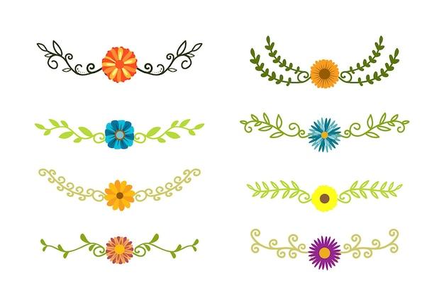 Hand getekende randen elementen instellen collectie bloemen swirl ornament vector