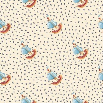 Hand getekende reizen naadloze patroon met blauwe zeilboot schip elementen print. gestippelde achtergrond. pastelkleuren. ontworpen voor stofontwerp, textielprint, verpakking, omslag. vector illustratie.