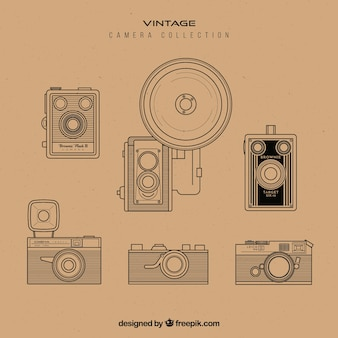 Hand getekende retro camera collectie