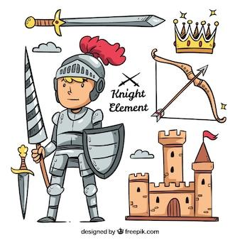 Hand getekende ridder met aanvullingen