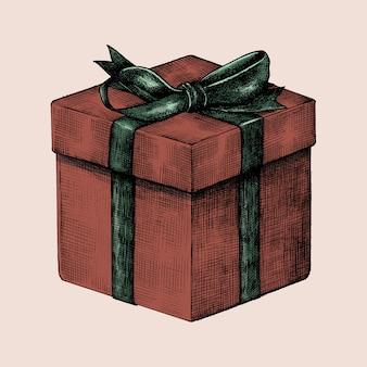 Hand getekende rode geschenk vak illustratie