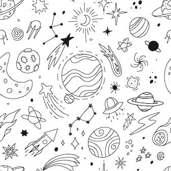 Hand getekende ruimte doodle universum planeten sterren schets schattig raket komeet maan vector naadloze patroon