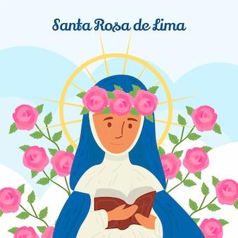 Hand getekende santa rosa de lima illustratie