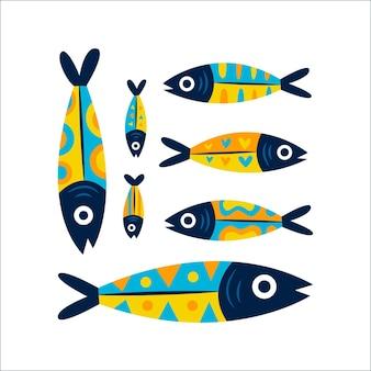 Hand getekende sardine illustratie