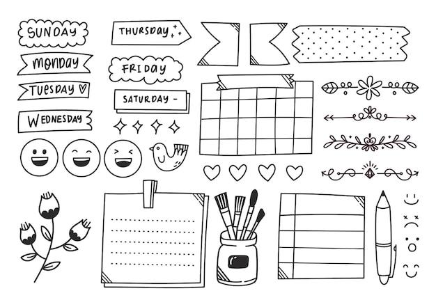 Hand getekende schattig dagboek doodle