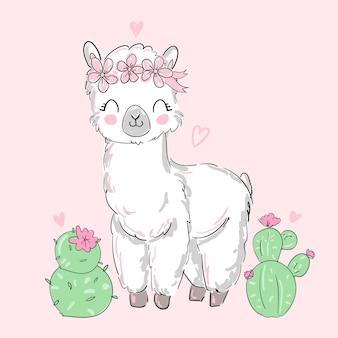 Hand getekende schattige alpaca, lama en bloemen