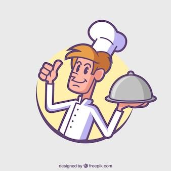 Hand getekende schattige chef-kok achtergrond