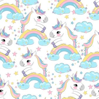Hand getekende schattige eenhoorn, gelukkig pony vector naadloos patroon, kids print