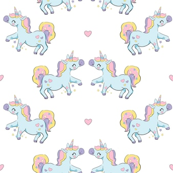 Hand getekende schattige eenhoorn, pony vector naadloos patroon, kids print