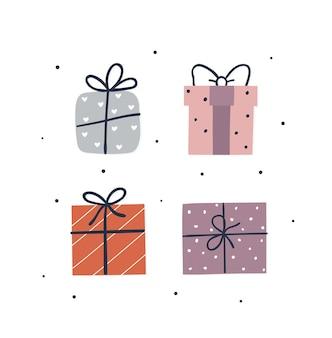 Hand getekende schattige geschenkdozen set. xmas wenskaartsjabloon. vlakke afbeelding.