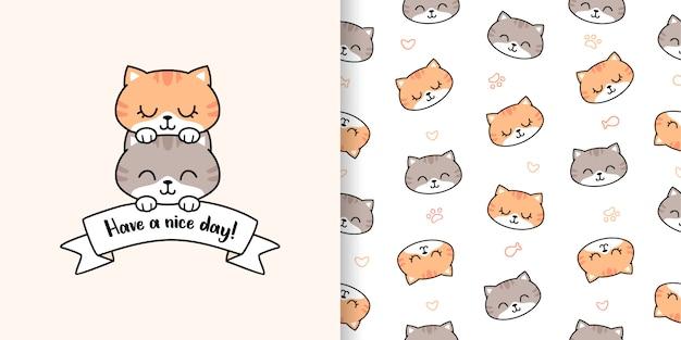 Hand getekende schattige kat met wenskaart en naadloze patroon